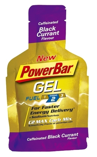energetický gel PowerBar PowerGel 41g caffeinated black currant