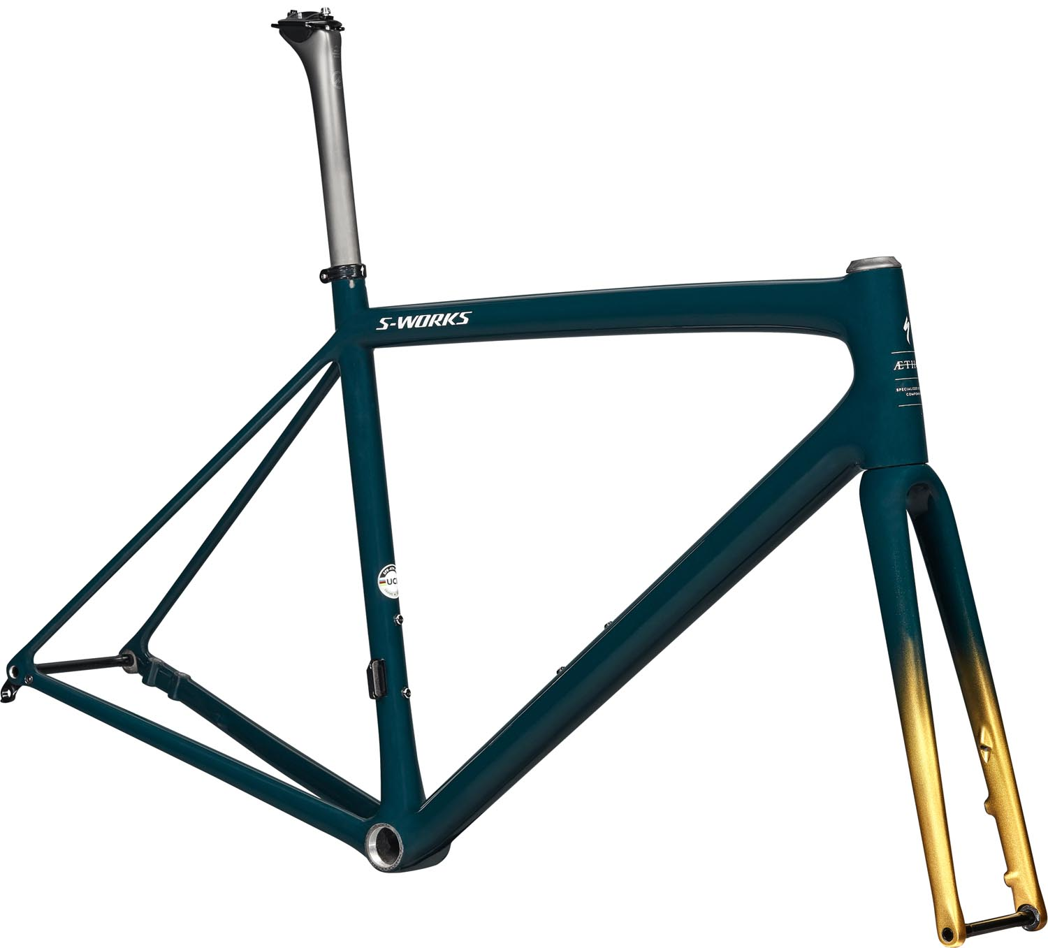 rám silničního kola Specialized S-Works Aethos 2021 gloss forest green/gold