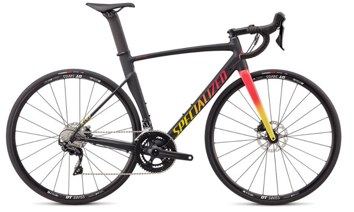 silniční kolo Specialized Allez Sprint Comp Disc 2020 satin/gloss black/yellow