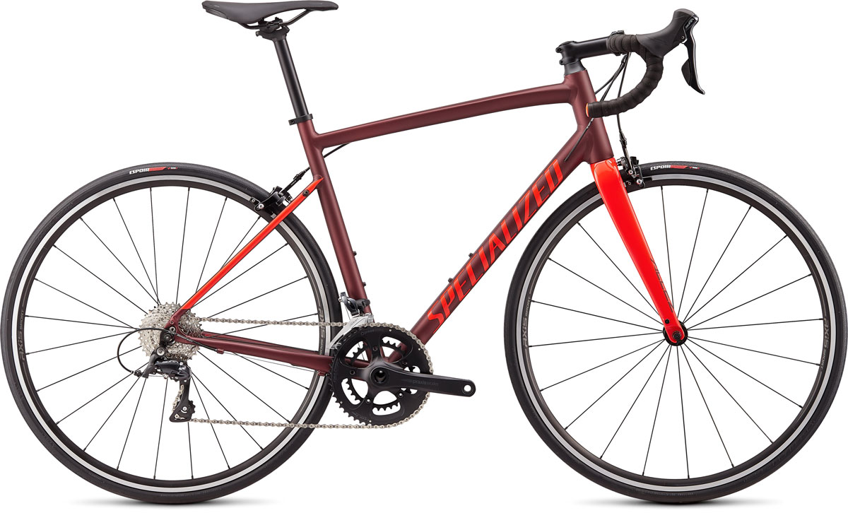 silniční kolo Specialized Allez E5 Sport 2020 satin/gloss crimson/red