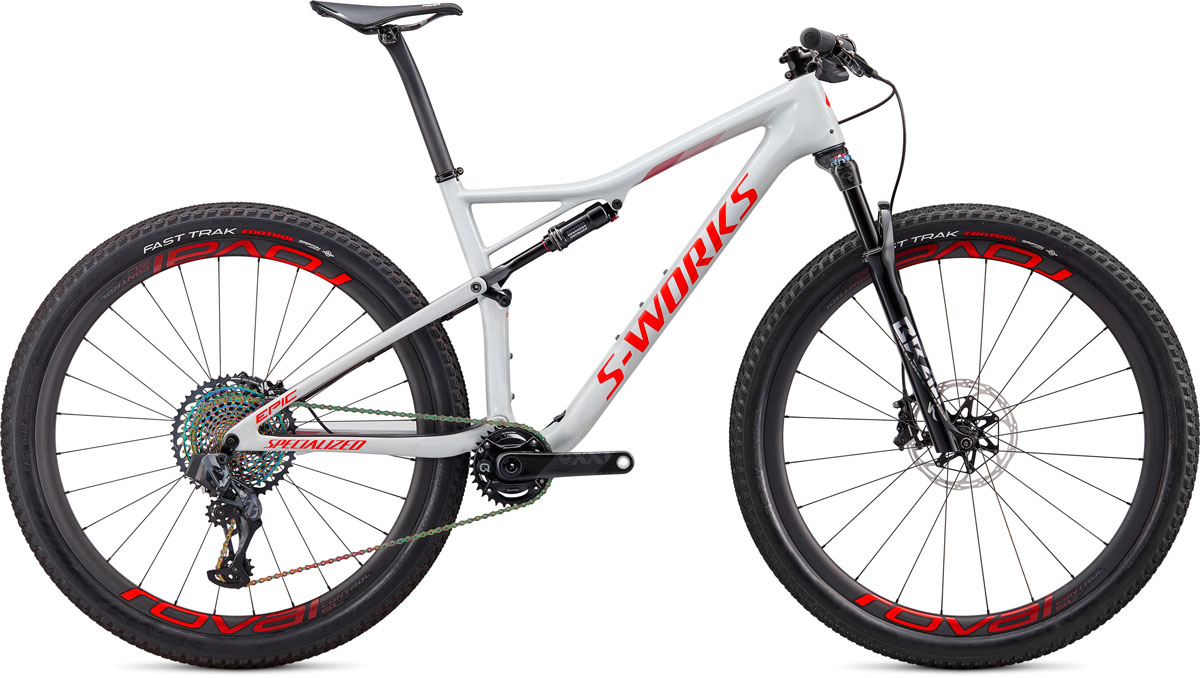 "horské kolo Specialized S-Works Epic Carbon SRAM AXS 29"" 2020 gloss dove gray/red/crimson"