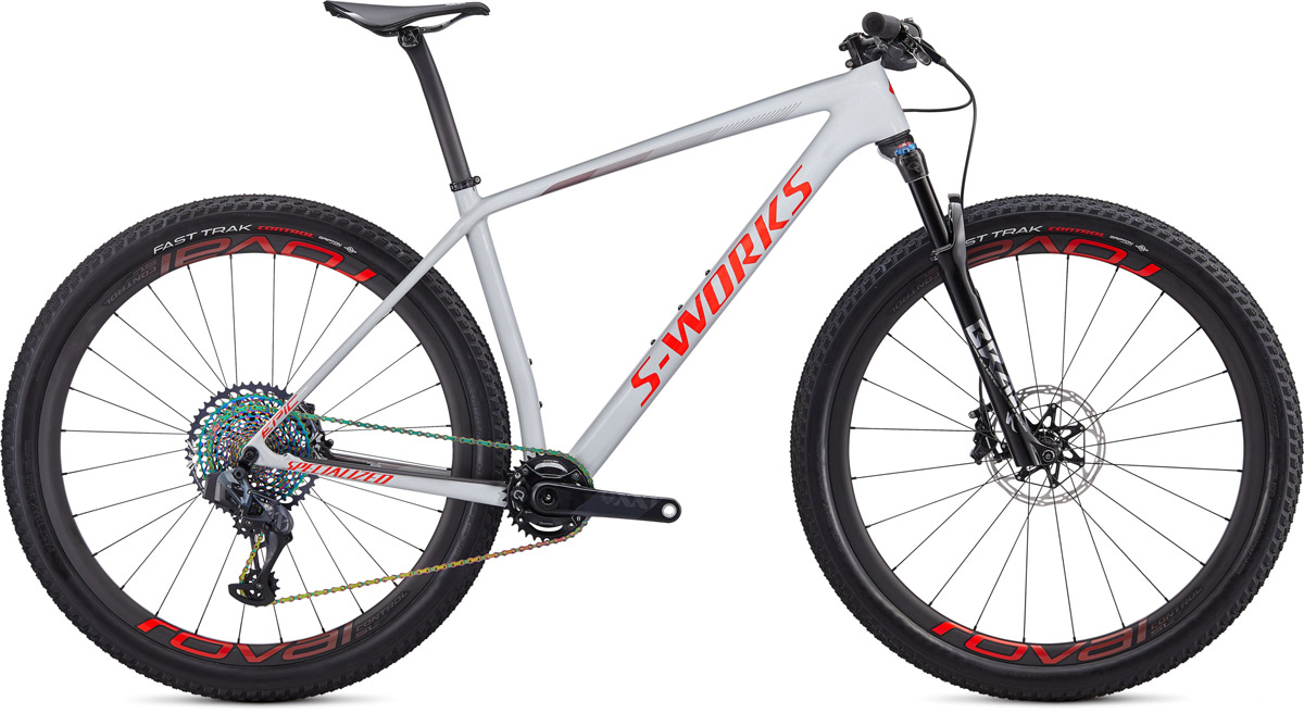 "horské kolo Specialized S-Works Epic HT Carbon SRAM AXS 29"" 2020 gloss gray/red"