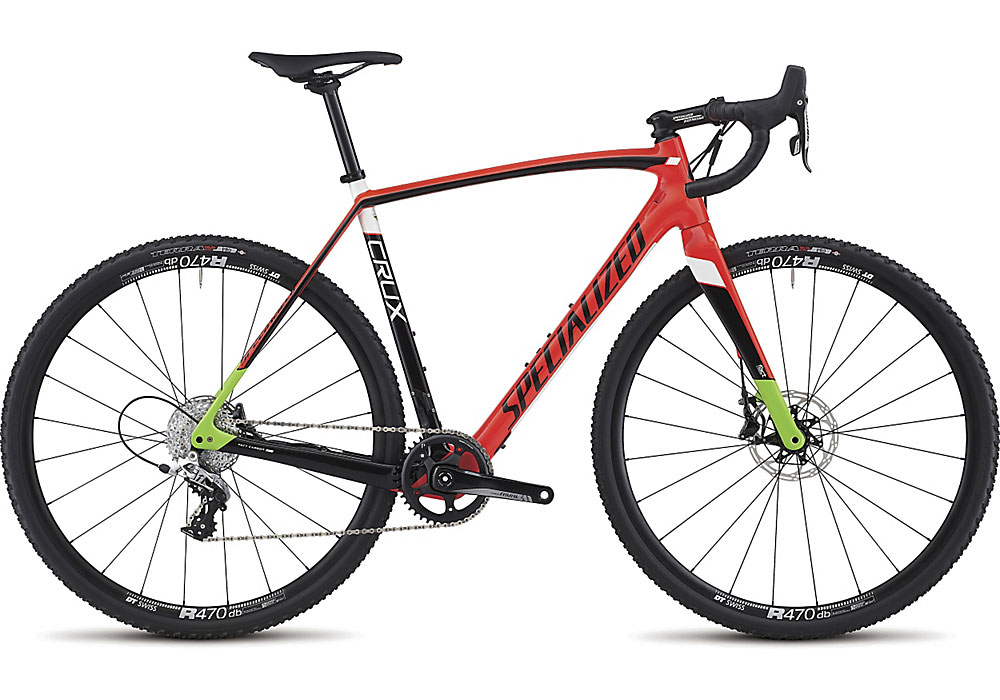 cyklokrosové kolo Specialized Crux Elite 2017 gloss rocket red/black/monster green