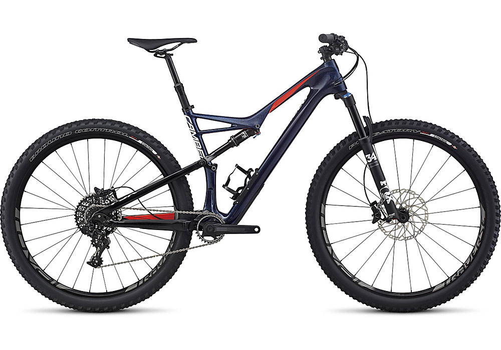"horské kolo Specialized Camber FSR Expert Carbon 29"" 2017 gloss blue/nordic red/white"