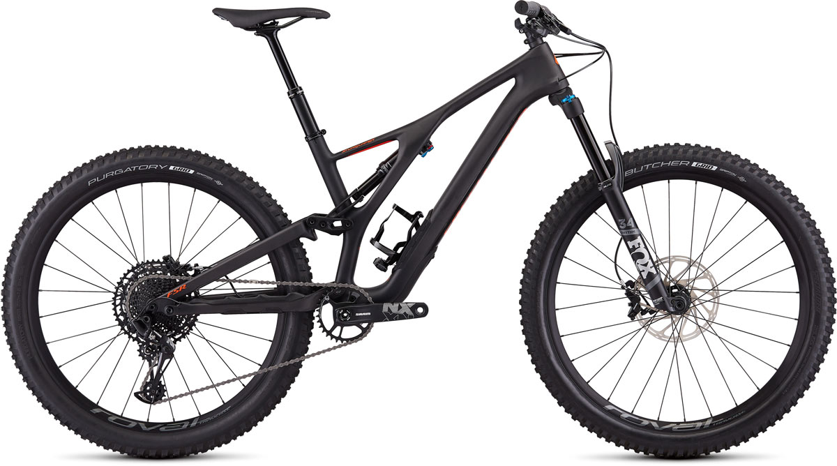 "horské kolo Specialized Stumpjumper FSR Comp Carbon 27,5"" 2020 satin carbon/red"
